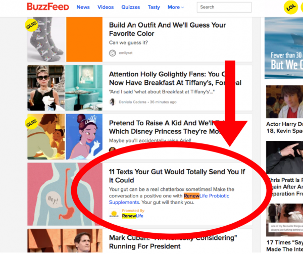 A sample of native advertising on Buzzfeed.